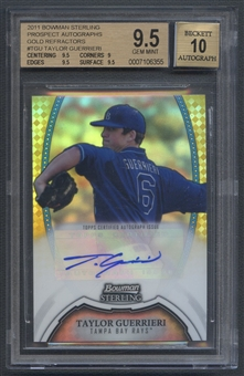 2011 Bowman Sterling Prospect #TGU Taylor Guerrieri Rookie Gold Refractor Auto #23/50 BGS 9.5