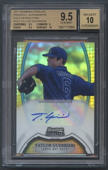 2011 Bowman Sterling Prospect #TGU Taylor Guerrieri Rookie Gold Refractor Auto #27/50 BGS 9.5