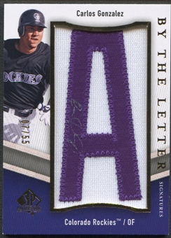 "2009 SP Authentic #CG Carlos Gonzalez By The Letter ""A"" Patch Auto #07/55"