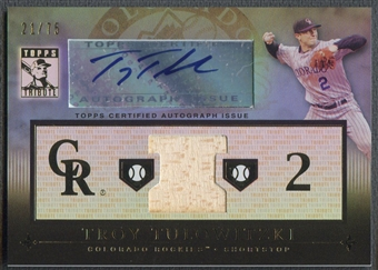 2010 Topps Tribute #TT Troy Tulowitzki Blue Bat Auto #21/75