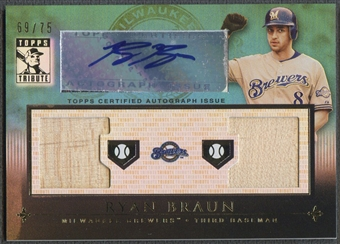 2010 Topps Tribute #RB Ryan Braun Dual Relics Blue Bat Auto #69/75