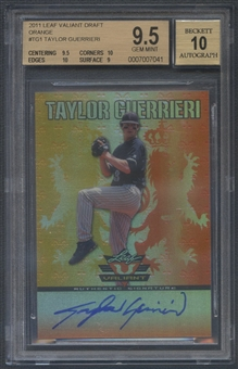 2011 Leaf Valiant Draft #TG1 Taylor Guerrieri Orange Rookie Auto #21/25 BGS 9.5
