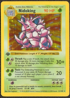 Pokemon Base Set 1 Single 1st Edition Nidoking 11/102 - Shadowless