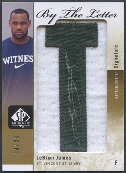 "2011/12 SP Authentic #BLLJ LeBron James By The Letter ""T"" Patch Auto #04/23"