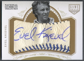 2012 Panini National Treasures #25 Evel Knievel Game Ball Signatures Auto #06/12