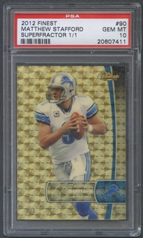 2012 Finest #90 Matthew Stafford Superfractor #1/1 PSA 10