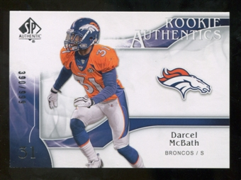 2009 Upper Deck SP Authentic #235 Darcel McBath RC /999