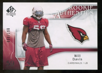 2009 Upper Deck SP Authentic #239 Will Davis RC /999