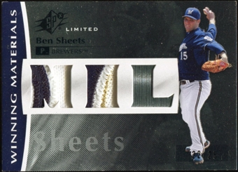 2008 Upper Deck SPx Winning Materials Dual Team Initials 25 #BS Ben Sheets 22/25