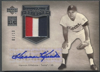 2005 Upper Deck Hall of Fame #HK3 Harmon Killebrew Hall of Fame Seasons Silver Patch Auto #01/10