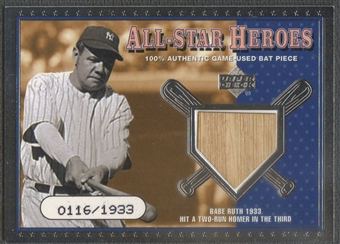 2001 Upper Deck All-Star Heroes #ASHBR Babe Ruth Memorabilia Bat #0116/1933