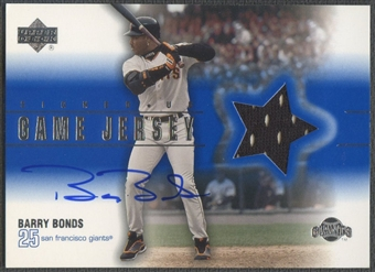 2001 Upper Deck #HBB Barry Bonds Game Jersey Auto