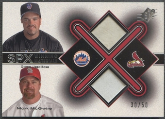2001 SPx #B2PM Mike Piazza & Mark McGwire Winning Materials Base Duos #30/50