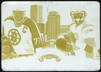 2009 Upper Deck Heroes Printing Plates Yellow #483 Ray Bourque Tom Brady 1/1