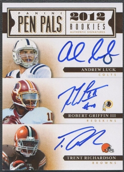 2012 Prime Signatures #8 Andrew Luck Robert Griffin III Trent Richardson Pen Pals Rookie Auto