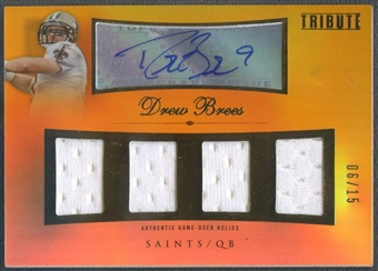 2010 Topps Tribute #AQRDB Drew Brees Quad Relics Gold Jersey Auto #06/15