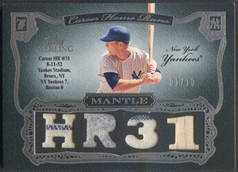 2006 Topps Sterling #MMHR31 Mickey Mantle Moments Relics HR 31 Jersey Bat #01/10