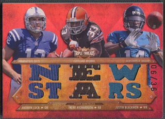 2012 Topps Triple Threads #TTRC12 Justin Blackmon Andrew Luck Trent Richardson Rookie Jersey #06/36