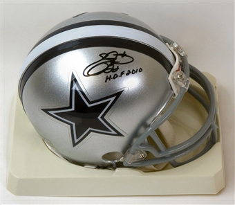 "Emmitt Smith Autographed Dallas Cowboys Mini Helmet w/""HOF 2010"" (Emmitt Smith Hologram)"