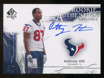 2009 Upper Deck SP Authentic #302 Anthony Hill RC Autograph /999