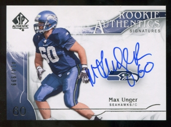 2009 Upper Deck SP Authentic #323 Max Unger RC Autograph /999