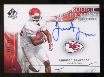 2009 Upper Deck SP Authentic #325 Quinten Lawrence RC Autograph /999