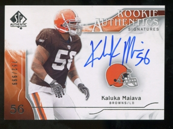 2009 Upper Deck SP Authentic #368 Kaluka Maiava RC Autograph /999