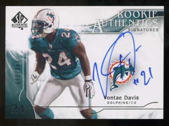 2009 Upper Deck SP Authentic #370 Vontae Davis Autograph /299