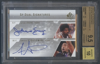 2003/04 SP Authentic #ESA Julius Erving & Amare Stoudemire Signatures Dual Auto SP BGS 9.5