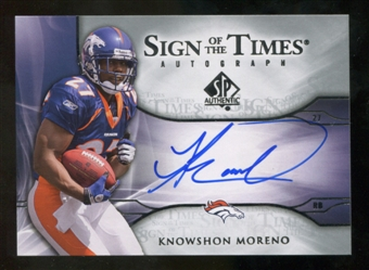 2009 Upper Deck SP Authentic Sign of the Times #STKM Knowshon Moreno Autograph