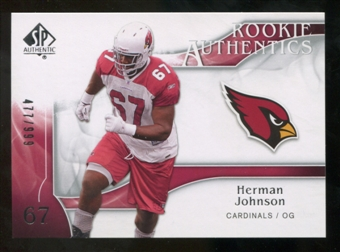 2009 Upper Deck SP Authentic #202 Herman Johnson RC /999