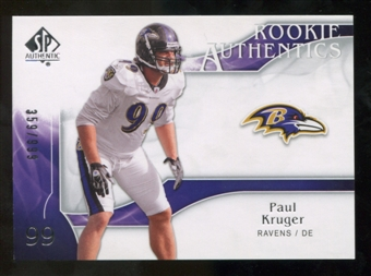2009 Upper Deck SP Authentic #207 Paul Kruger RC /999