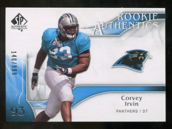2009 Upper Deck SP Authentic #214 Corvey Irvin RC /999