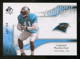 2009 Upper Deck SP Authentic #216 Captain Munnerlyn /999