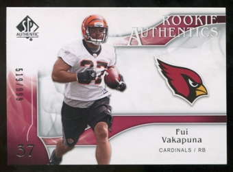 2009 Upper Deck SP Authentic #224 Fui Vakapuna RC /999