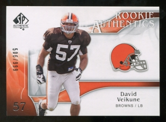 2009 Upper Deck SP Authentic #227 David Veikune RC /999