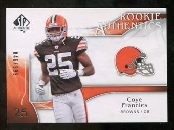 2009 Upper Deck SP Authentic #228 Coye Francies RC /999