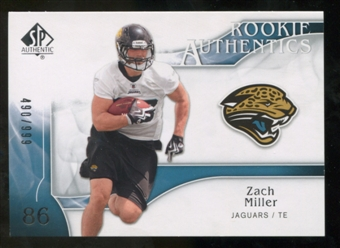 2009 Upper Deck SP Authentic #255 Zach Miller RC /999