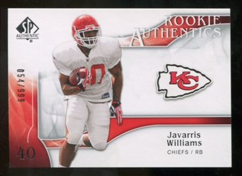 2009 Upper Deck SP Authentic #259 Javarris Williams /999