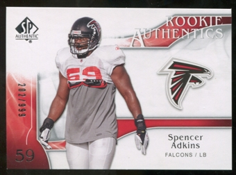 2009 Upper Deck SP Authentic #263 Spencer Adkins RC /999