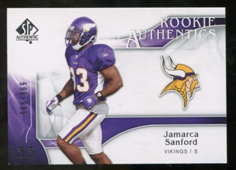 2009 Upper Deck SP Authentic #266 Jamarca Sanford RC /999