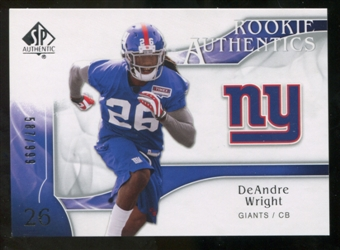 2009 Upper Deck SP Authentic #272 DeAndre Wright RC /999