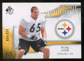 2009 Upper Deck SP Authentic #281 Kraig Urbik RC /999