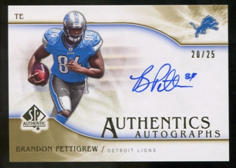 2009 Upper Deck SP Authentic Autographs Gold #SPBP Brandon Pettigrew Autograph /25