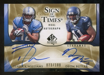 2009 Upper Deck SP Authentic Sign of the Times Duals #DD Derrick Williams Deon Butler Autograph  100