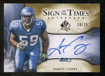 2009 Upper Deck SP Authentic Sign of the Times Gold #STAC Aaron Curry Autograph /25