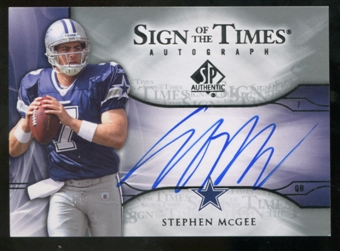 2009 Upper Deck SP Authentic Sign of the Times #STSM Stephen McGee Autograph