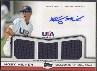 2011 USA Baseball #HM Hoby Milner Rookie Triple Jersey Auto #013/214