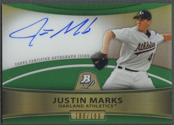 2010 Bowman Platinum Prospect #JMA Justin Marks Rookie Green Refractor Auto #180/199
