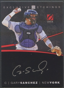 2012 Onyx Platinum Prospects #EE4 Gary Sanchez Exclusive Etchings Silver Ink Rookie Auto #027/100